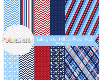INSTANT DOWNLOAD,  Nautical digital paper pack, little boy sailing background, red and navy, for commercial use, invitations, party supply