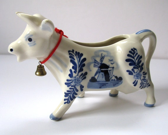 Vintage Delft Cow With Bell Creamer Ceramic Porcelain