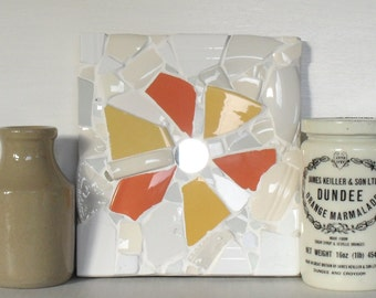 Mosaic Panel Wall Art - Orange and Yellow Flower with Mirror Centre and hanging clip