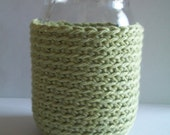 Mason jar cozy organic cotton crocheted light green pint size