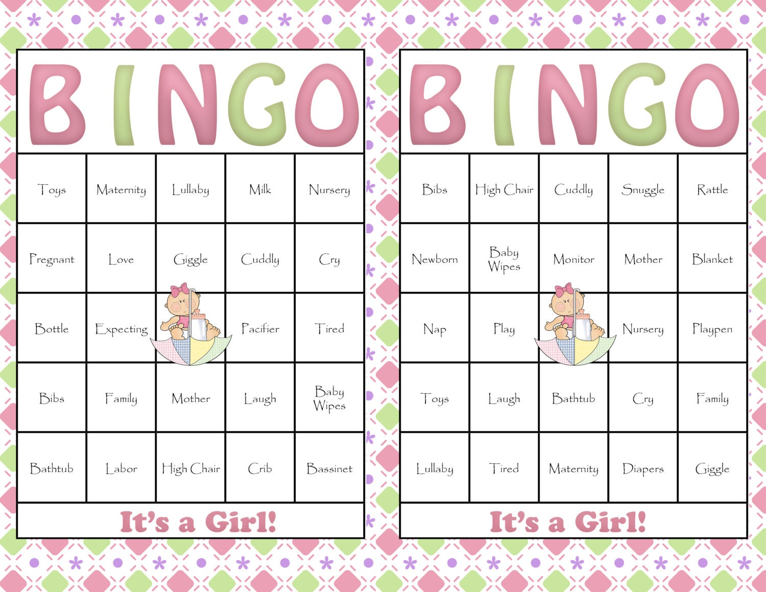 Effortless image throughout free printable baby shower bingo