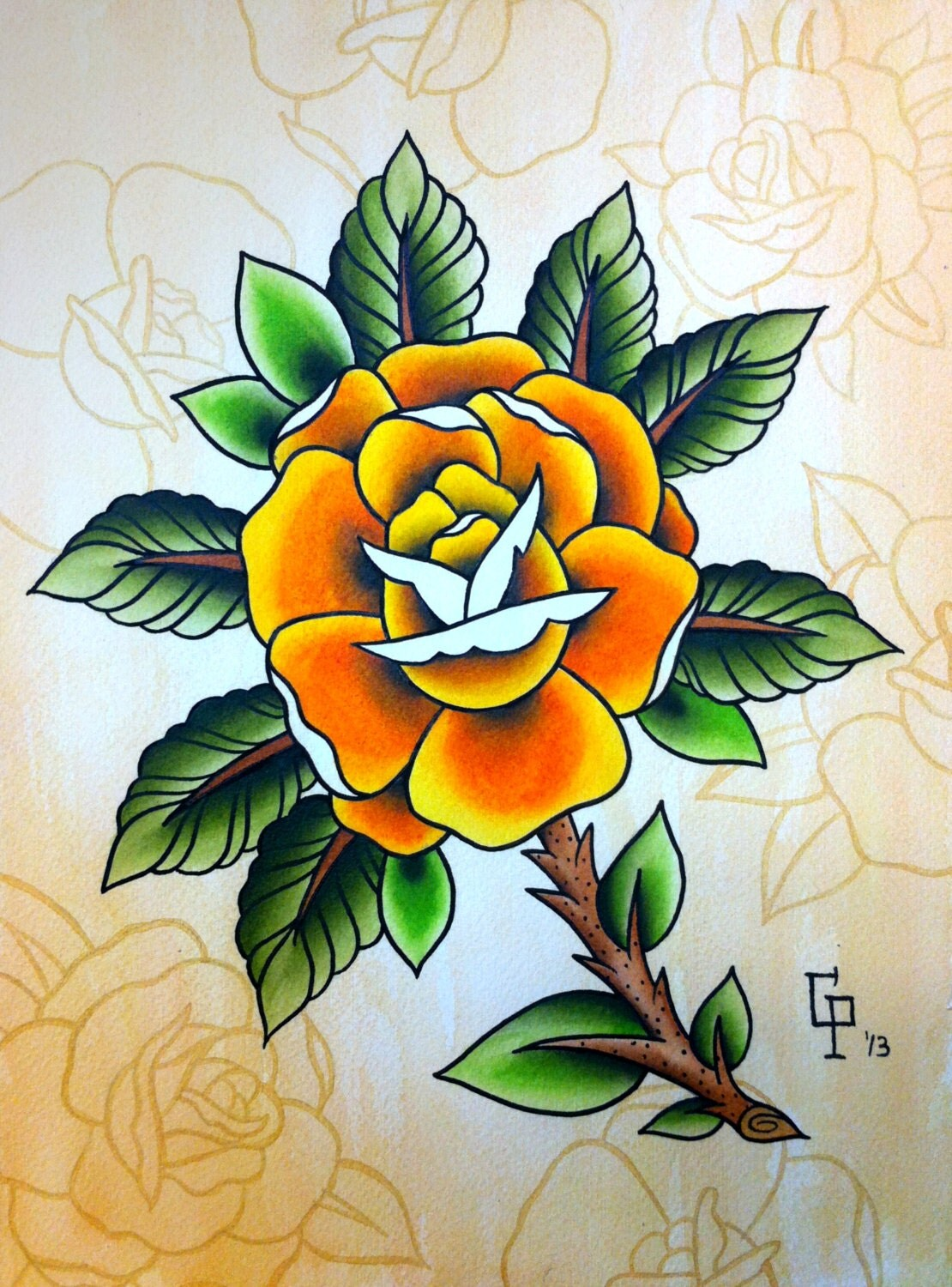Rose Traditional Tattoo: Traditional Rose Tattoo Flash Painting By ChristinaPlatis