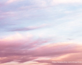 Dreamy Clouds Sky  - Spring Summer Nature Photography - Pink Purple Yellow Blue - Wall Art - Home Decor Fine Art Print -