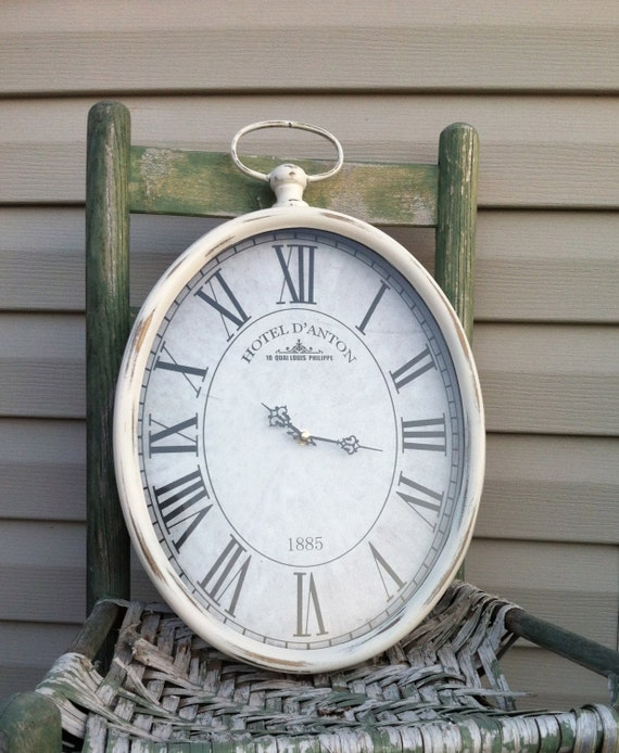 Oval Pocket Watch Wall Clock Cottage White Metal Hanging