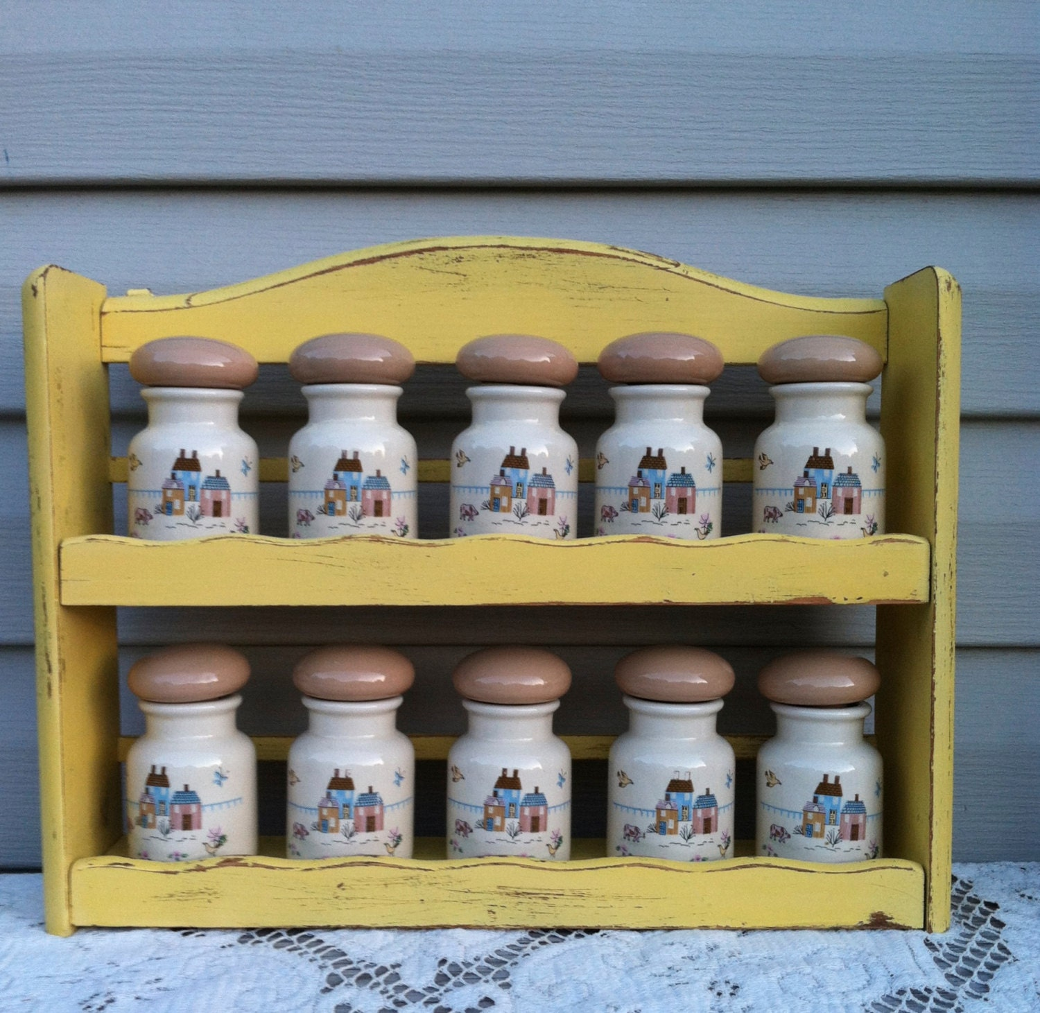 Kitchen Shelf For Spices: Vintage Country Kitchen Spice Rack W/10 Spice By