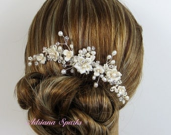 Flower Bridal Comb, Allison Hair Comb, Pocelain Flower Bridal hair comb, Wedding hair accessories, Bridal Headpieces,