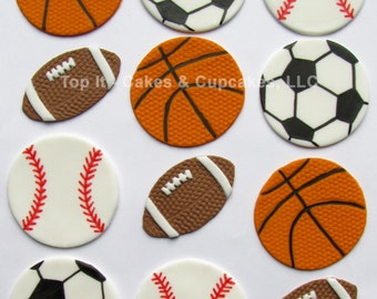 Fondant Cupcake Toppers - Sports Assortment