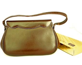 50s Kelly Style Handbag.  Vintage Etra Structured Purse. Leather Dark Chocolate Brown. Mad Men Fashion. Valentine's gift. Girlfriend gift