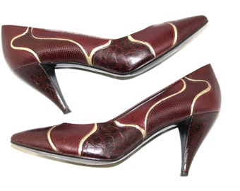 Vintage Leather Heels by Nina. 60s Tapered Heels. Made in Spain. New Year Eve. Oxblood. Burgundy. Bronze. Mad Men. Size 7M.  Party