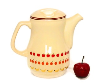 Vintage teapot. Porcelain teapot by Ceramica Schmidt. 60s kitchenware. Country kitchen. Yellow red. Apple fruits print. Girlfriend gift