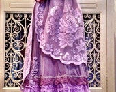 Mermaid Miss K revived  cocoa & pale lilac chiffon lace petticoat boho prom dress