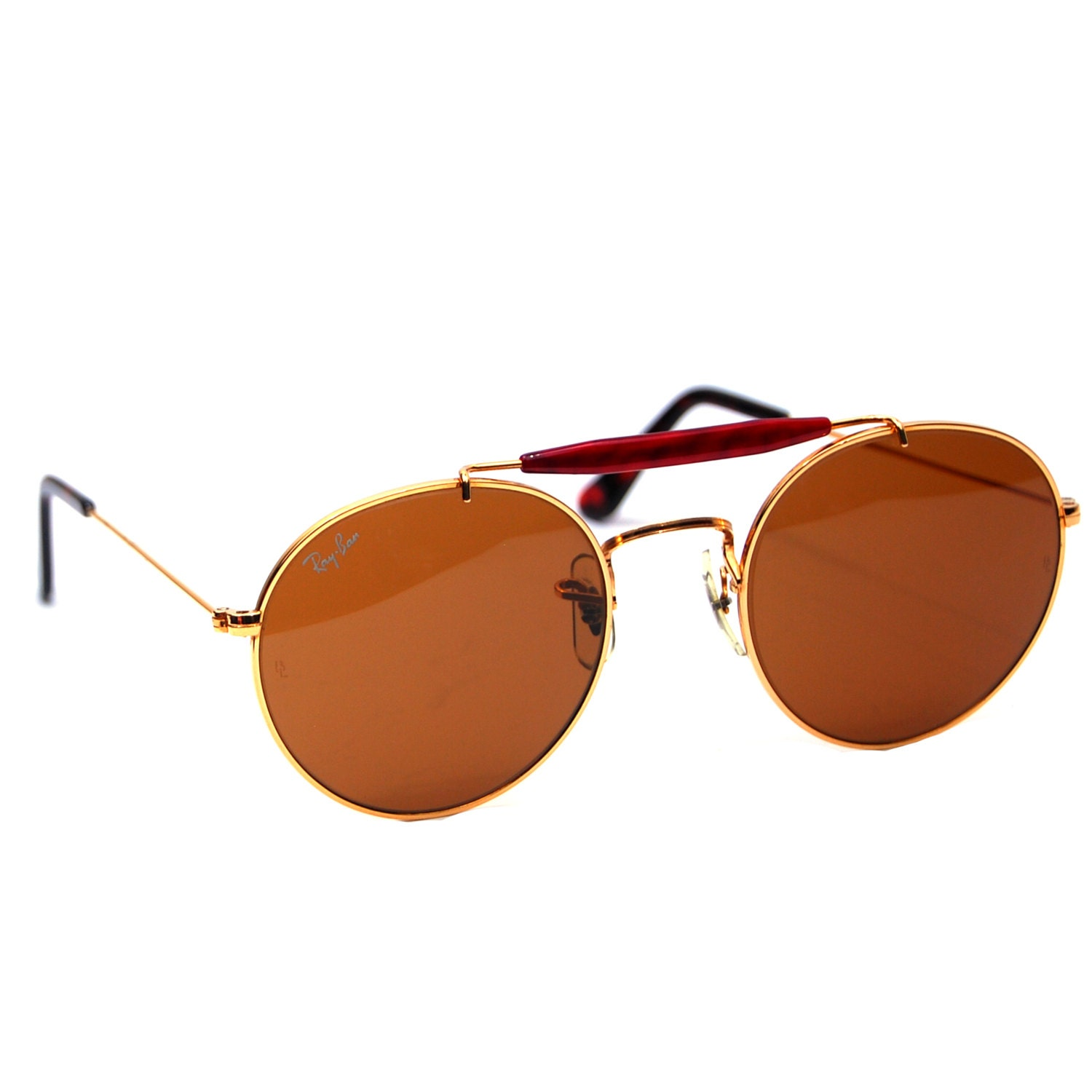 14d79a28452 Vintage Ray Ban Bausch and Lomb Round Steampunk Sunglasses