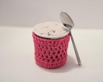 Ice Cream Pint Cover, Hot Pink Cozy. Crochet Ice Cream Sleeve. Stocking Stuffer, Teacher,  Best Friend gift Under 30. Last Minute Gift.