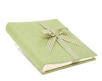"""Green natural paper photo album, for him, gift, wedding, or to collect photos (10""""x8"""" 30 sheets)"""