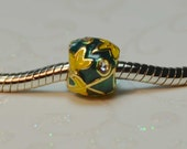 Green with Yellow and Gold Leaves Enamel Spacer Bead with Clear Crystals For European Style Charm Bracelet