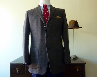 Vintage 1940s / 1950s Hart, Schaffner, & Marx Grey Tweed Trad / Ivy League Jacket w/ 3 PATCH POCKETS 41 R. Made in USA.