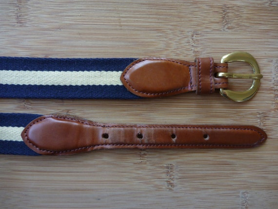 Vintage PRESTON Cream & Navy Blue Striped Trad / Ivy League Surcingle Belt 38.  Made in USA.