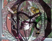 Butterfly and Flower Stained Glass Suncatcher Whirl