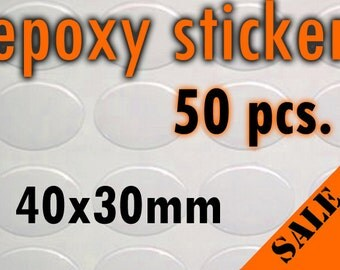50pcs. 40x30mm Oval Epoxy Sticker