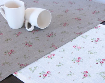 Linen Table Runner / Floral Pattern / Gray / White