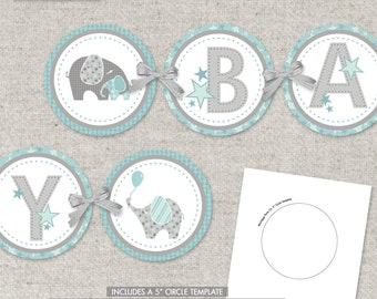 Custom Banner - Pink or Blue Elephants - printable PDF - just print. cut. and decorate