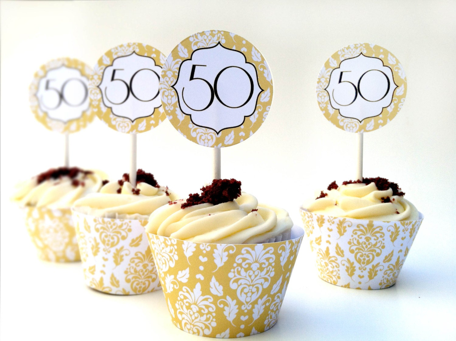 Instant download 50th anniversary diy cupcake decorations for 50th anniversary decoration ideas