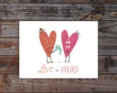 christmasinjuly cij sale anniversary card Love is Weird quote typography hearts christmas in july