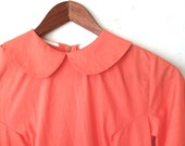 Vintage 1950s 1960s Peter Pan Collar Babydoll Dress Coral Pink extra small