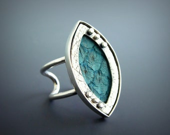 Fish leather and Sterling Silver Adjustable Ring