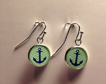 Blue and Green Anchor Earrings