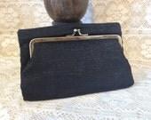 Vintage Black Clutch Purse Handbag Pocket Book