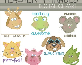 School Clipart Teacher Phrases - Personal and Limited Commercial Use- Cute Teacher Animals, classroom clip art