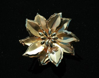 Vintage Goldtone Flower Pin Brooch Large Mothers Day Any Occasion