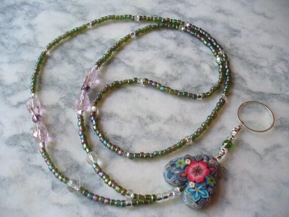 Beautiful Green and Pink With Polymer Clay Heart Lanyard Necklace - Nametag -  Bead Lanyard - Work Lanyard - Graduation Gift