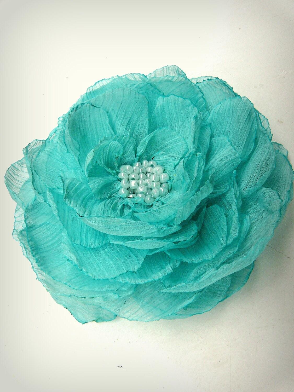 mint green flower sea foam green hair clip mint by. Black Bedroom Furniture Sets. Home Design Ideas