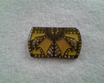Art Deco Styled Pin, Yellow Tone
