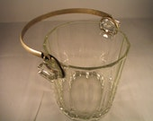 Midcentury Glass Ice Bucket With Silver Colored Handle Wedding Tableware Holiday Decor