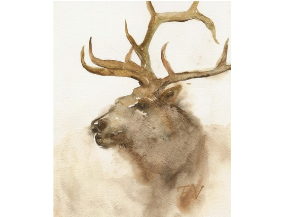 Red deer, original watercolor painting, deer animal painting, woodland fine art.