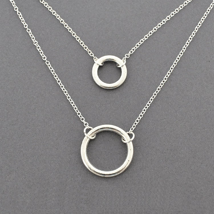 Silver double round ring Necklace everyday Necklace Halo