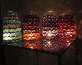 Crochet Broomstick Lace Mason Jar Lantern or Vase