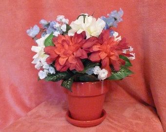 Flower Arrangement, Floral Arrangement, Silk Floral Arrangement of Bright Red Azaleas in a Small Red Ceramic Pot.