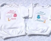 Twin Applique Gown,  Newborn Applique Stork Baby Gown, Personalized Baby Layette Gown