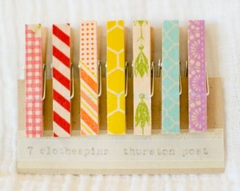 SALE! Washi Tape Covered Clothespins Set of 7 Mini Clothespins Rainbow