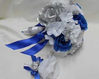 Wedding Bridal Bouquet Your Colors 2 pieces Silver Peonies White Royal blue Rose white Hydrangeas with Boutonniere Centerpiece FREE SHIPPING