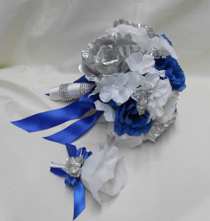 Royal Blue Silver And White Wedding Bouquets : Wedding bridal bouquet your colors pieces silver peonies