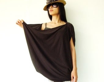 NO.60 Dark Brown Cotton-Blend Jersey Origami Top Asymmetrical T-Shirt
