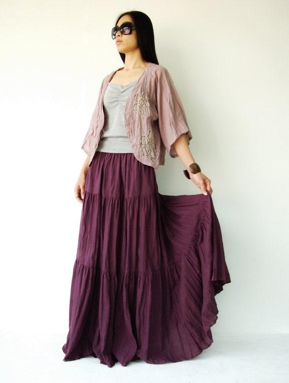 NO.5 Reddish-Purple Cotton Gauze, Hippie Gypsy Boho Tiered Long Peasant Skirt