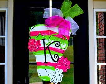 Door Hanger: Flip Flop, Summer Door Decoration, Beach House Decor