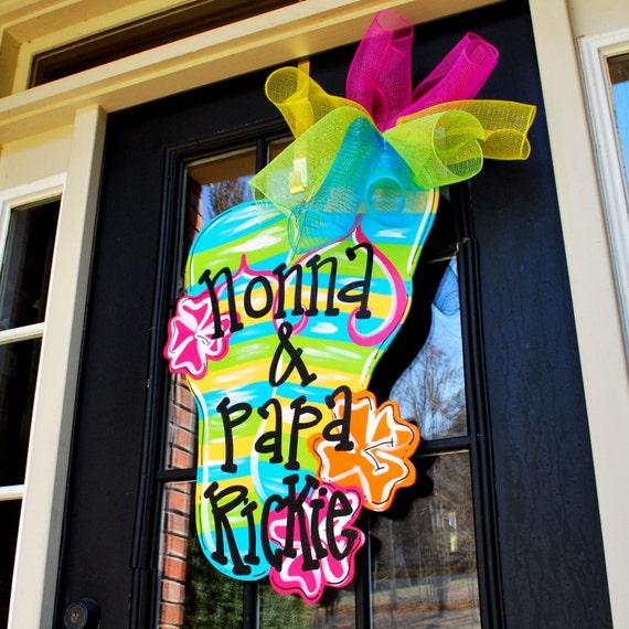 Flip Flop Door Hanger Flip Flop Wreath Beach House Signs