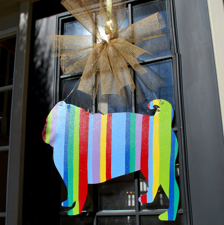 Door Hanger Dog Door Decor Summer Door Hanger by LooLeighsCharm